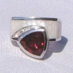Custom Designed Garnet and Diamond Ring
