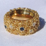 Crochet Diamond and Sapphire Ring