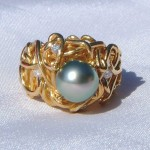 Custom Design Diamond and Tahitian Pearl Ring