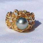 Custom Design Diamond and Tahitian Pearl Ring