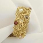 Crochet Garnet & Pearls Ring
