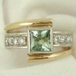 Green Tourmaline and Diamonds