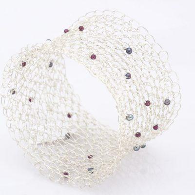 Crochet Bracelet, Garnets & Pearls