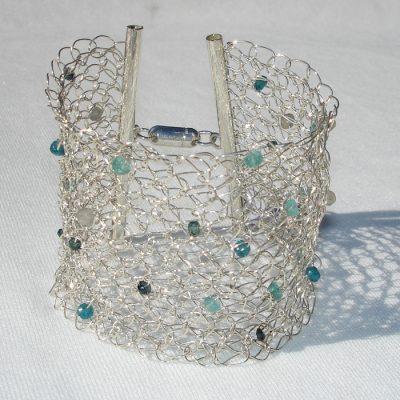 Crochet Bracelet, Sapphire, Apatite & Labradorite