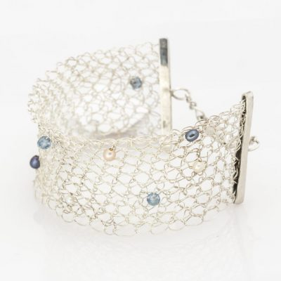 Crochet Bracelet, Topaz & Pearls