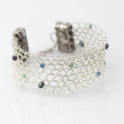 Crochet, Emerald, Topaz, Pearls