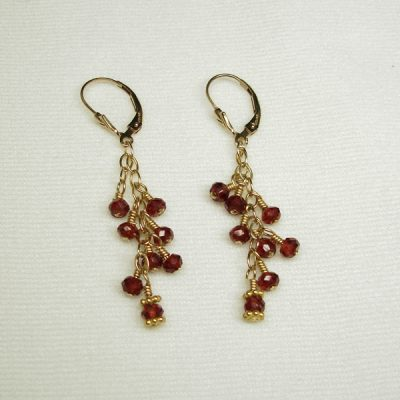 Earrings, GF Garnets