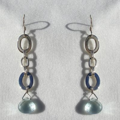 Earrings, SS Blue Quartz