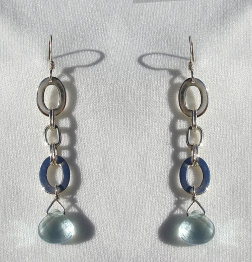 Earrings, SS Blue Quartz