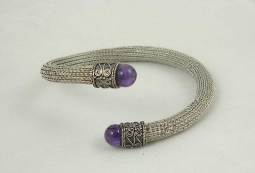 Mesh Bracelet Cuff, Amethyst